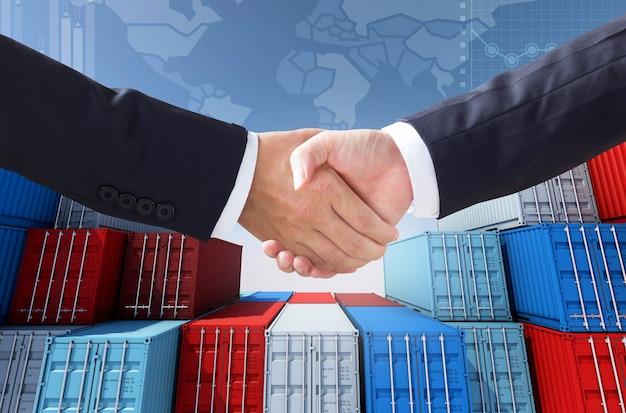 輸出入業務とチェックハンド用のコンテナ貨物、3dレンダリング