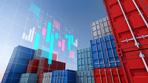 Контейнерный груз для импортно-экспортного бизнеса и цифровой график фондового рынка, 3d-рендеринг
