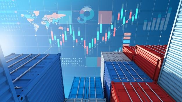 輸出入ビジネスおよびデジタル株式市場チャート、3dレンダリング用のコンテナ貨物