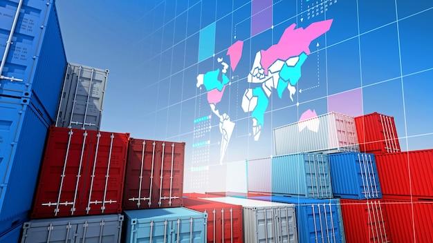 Контейнерные грузы для импорта и экспорта бизнеса и карты цифрового мира, 3d-рендеринга