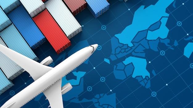 デジタル世界地図上の輸出入ビジネスロジスティックのコンテナ貨物船と飛行機