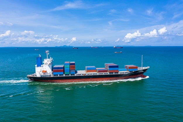 Container cargo ship business logistics services import and export international transportation open fright by the sea