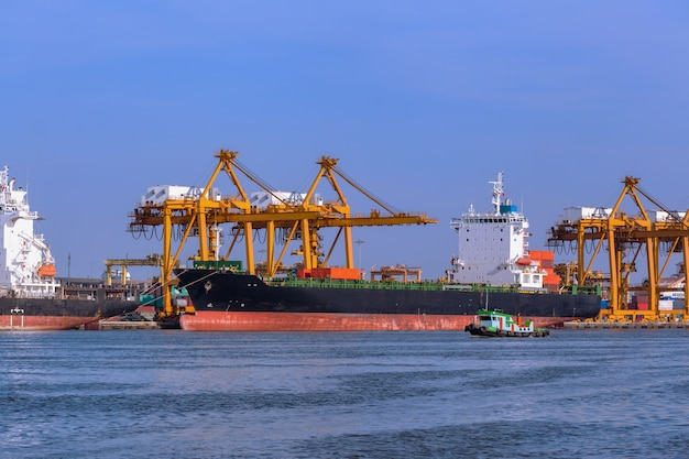 Container and cargo ship, import export, business logistic transportation and crane