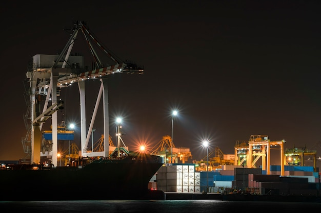 Container cargo ship in imports exports logistics business in shipyard