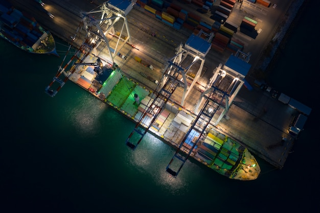 Container dock terminal and shipping container loading aerial view