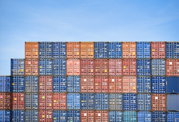 Container ship in export and import business and logistics in harbor