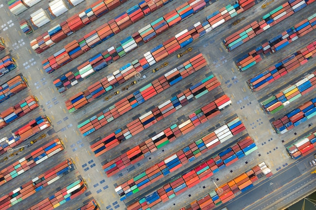 Container ship in export and import business logistics and transportation.
