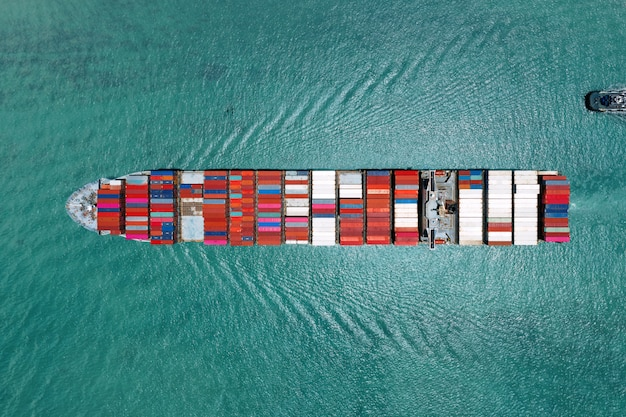Container ship in export and import business