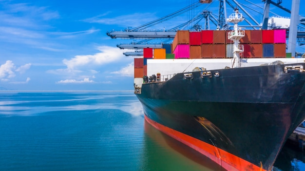 Container ship loading in a port, aerial top view container ship in business import