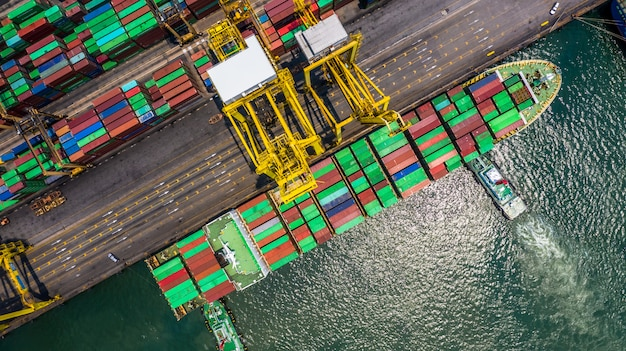 Container ship loading and unloading in deep sea port