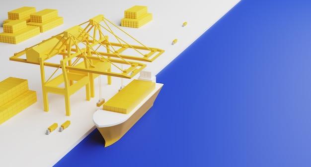 컨테이너 선적 터미널. 해운항 물류 랜딩페이지. 3d 렌더링.