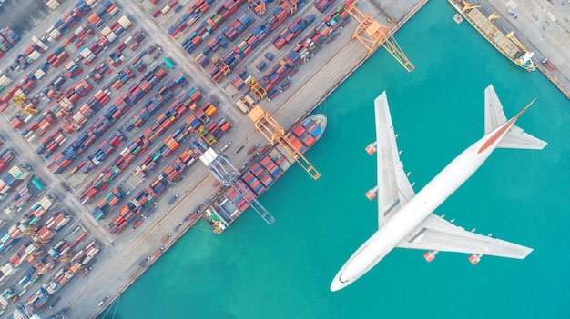 Container ships and transport aircraft in the export and import business and logistics