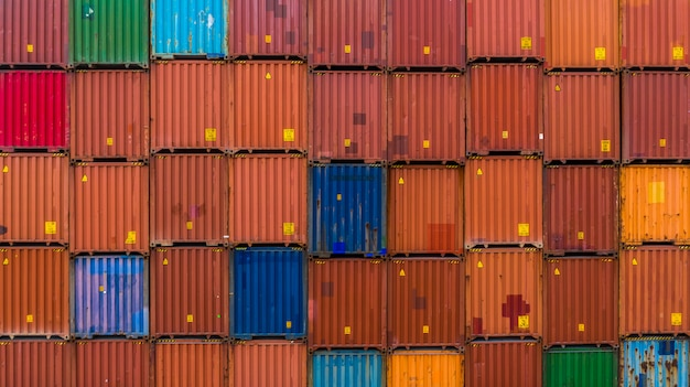 Container stack background, stack of container, logistic import export business.