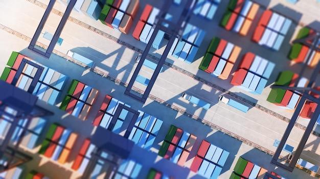 항구의 컨테이너 터미널 및 컨테이너 선적대형 화물 항구화물 카탑 시야각