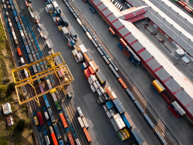 Containers and railways aerial views