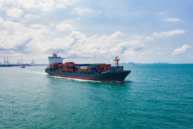 Containers ship import and export international  businesses services  transportation by ocean fright