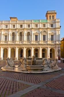 Contarini fountain in old town, bergamo, italy