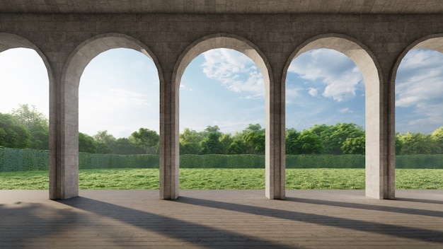 Contemporary arch corridor with green garden view. 3d rendering