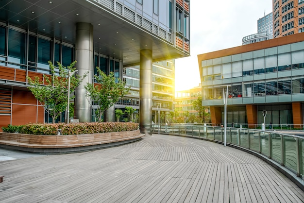 Contemporary architectural office building, urban landscape
