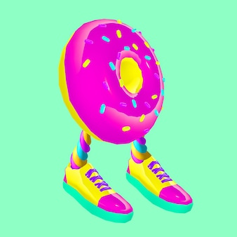Contemporary art  collage. donut hipster. funny fast food minimal project