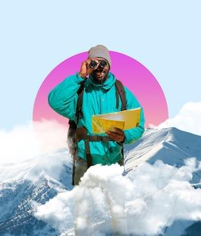 현대 미술 콜라주입니다. 기하학적 배경에서 분리된 쌍안경을 통해 보고 있는 행복한 아프리카계 미국인 여행자. 텍스트, 디자인, 광고를 위한 공간을 복사합니다. 현대 창작 작품.
