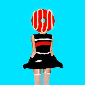 Contemporary art collage. minimal concept.  donut vintage  lover.  donut lady