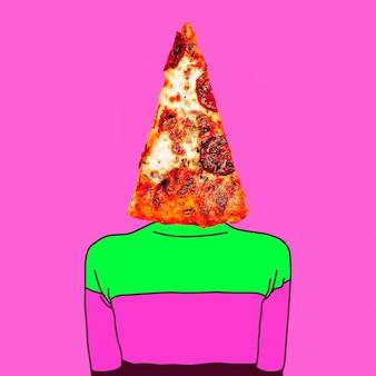 Коллаж современного искусства. минимальная концепция. кусок пиццы. только один