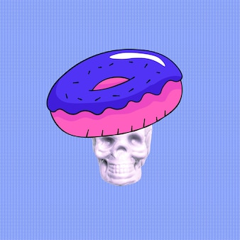 Contemporary art collage. skull donuts lover.funny fast food minimal project
