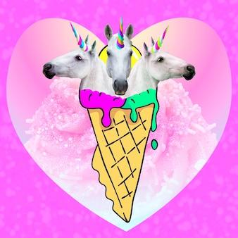 현대 미술 콜라주입니다. 트리플 유니콘 아이스크림. 재미있는 패스트 푸드 최소 프로젝트