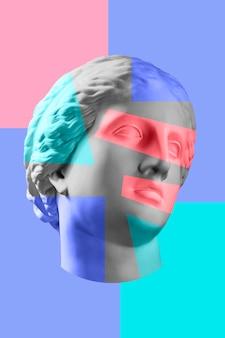 초현실적 인 스타일의 골동품 조각 머리와 현대 미술 개념 콜라주. 현대의 특이한 예술. 진 문화.