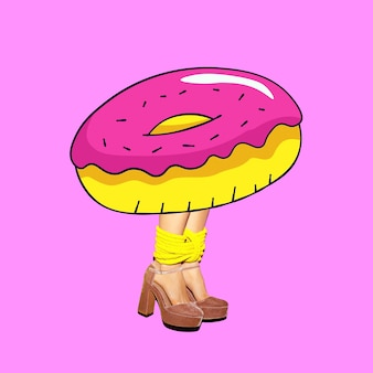 Contemporary art minimal collage.donut dependent lady.  funny fast food minimal project