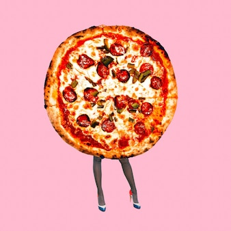 Contemporary art minimal collage. lady pizza. funny fast food minimal project