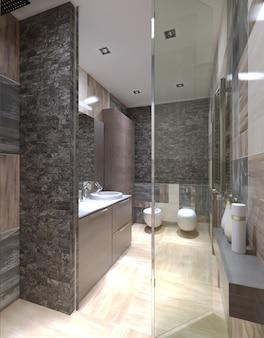 Современная ванная комната со стеклянной душевой дверью и кафельными стенами, полы светло-бежевого цвета.