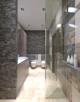 Современный дизайн ванной комнаты с использованием мелкой плитки на стенах с видом из душевой кабины.