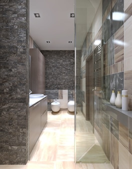 Contemporary bathroom design with using of small tiles on walls with view from the shower stall.