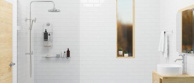 Современный интерьер ванной комнаты с деревянным шкафом, современная душевая зона, раковина, белая плитка, стена