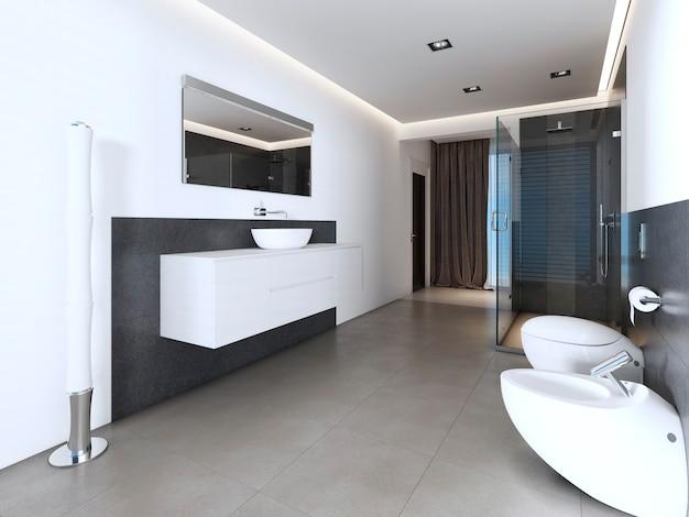 흰색과 회색 색상의 샤워 시설과 욕조가 있는 현대적인 욕실입니다. 3d 렌더링