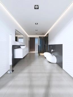 Современная ванная комната с душем и ванной в бело-серых тонах. 3d рендеринг