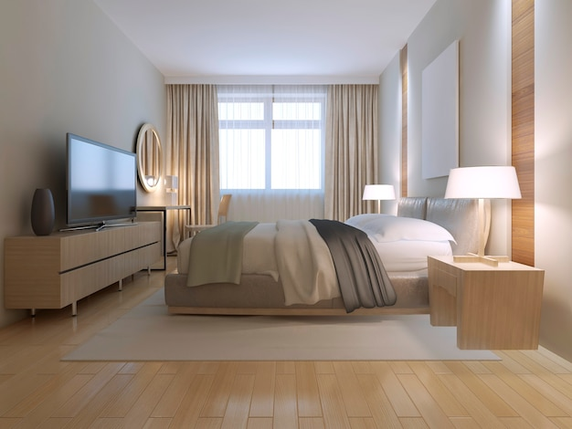 Contemporary bedroom design with light wood parquet flooring
