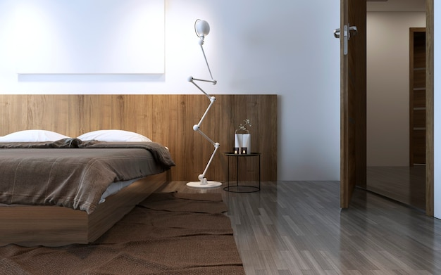 Contemporary bedroom idea in brown color. wall wooden decorations behind bed, crumpled brown carpet. 3d render