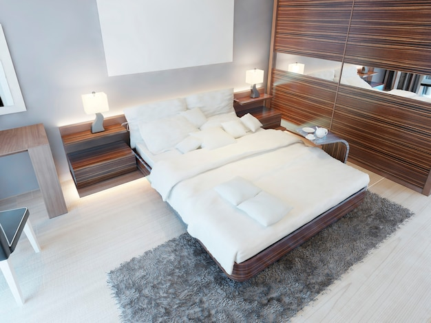 갈색 가구와 얽히고 설킨 회색 카펫이있는 밝은 색상의 현대적인 침실입니다. 3d 렌더링.