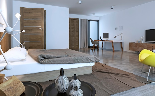 Contemporary bedroom with brown furniture. 3d render