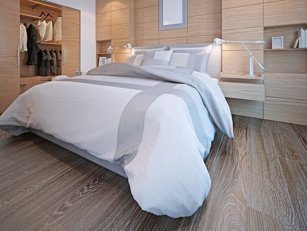 Contemporary bedroom with walk-in closet and white walls with decorative wood panels
