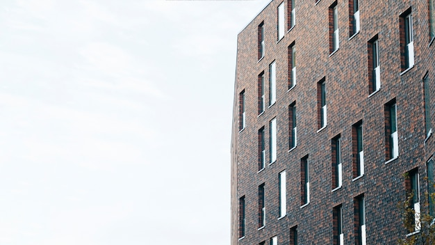Contemporary brick building from below
