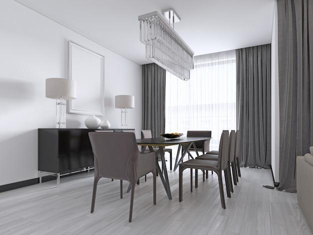Современная столовая с большим прямоугольным обеденным столом с восемью коричневыми кожаными креслами, черным комодом и лампами. 3d-рендеринг.