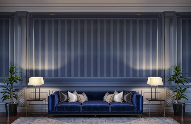 Contemporary interior in blue tones with a sofa and striped wallpaper. 3d rendering
