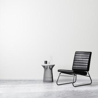 커피 테이블, 흰색 벽, 콘크리트 바닥이 있는 검은색 안락의자가 있는 현대적인 인테리어 디자인 장면, 빈 벽 조롱, 3d 렌더링