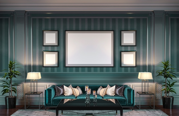 Contemporary interior in green tones with a sofa and striped wallpaper. 3d rendering