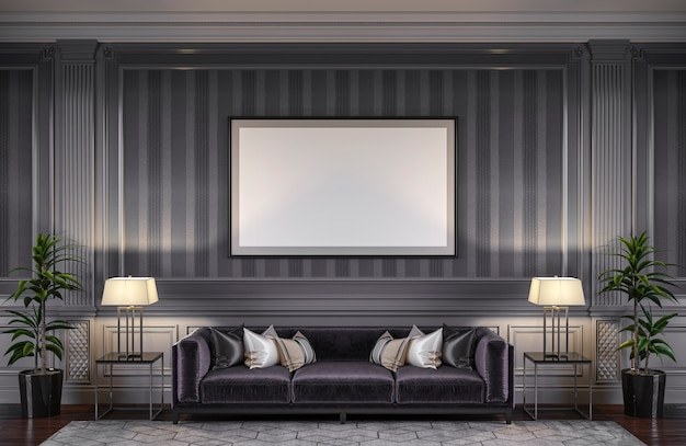 Contemporary interior in grey tones with a sofa and striped wallpaper. 3d rendering