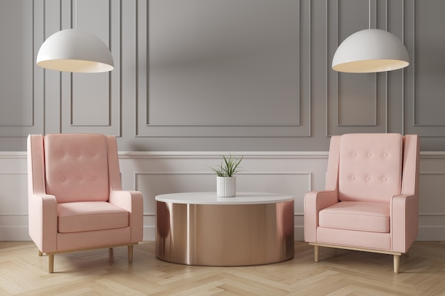 Contemporary interior of living grey wall with pink armchair, side table and ceiling lamp on herringbone wooden floor.
